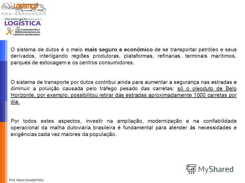 Prof. Mario Silvestri Filho O sistema de dutos é o meio mais seguro e econômico de se transportar petróleo e seus derivados, interligando regiões produtoras, plataformas, refinarias, terminais marítimos, parques de estocagem e os centros consumidores
