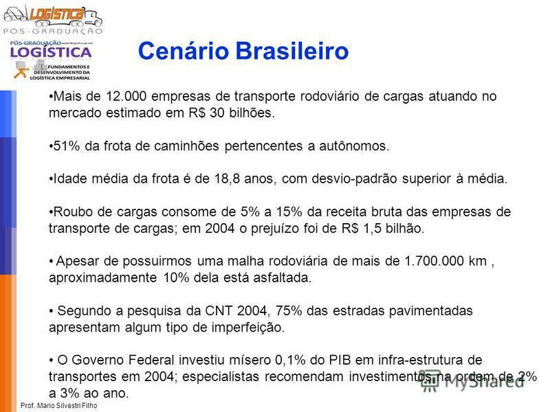 Prof. Mario Silvestri Filho Mais de 12.000 empresas de transporte rodoviário de cargas atuando no mercado estimado em R$ 30 bilhões. 51% da frota de caminhões pertencentes a autônomos. Idade média da frota é de 18,8 anos, com desvio-padrão superior à
