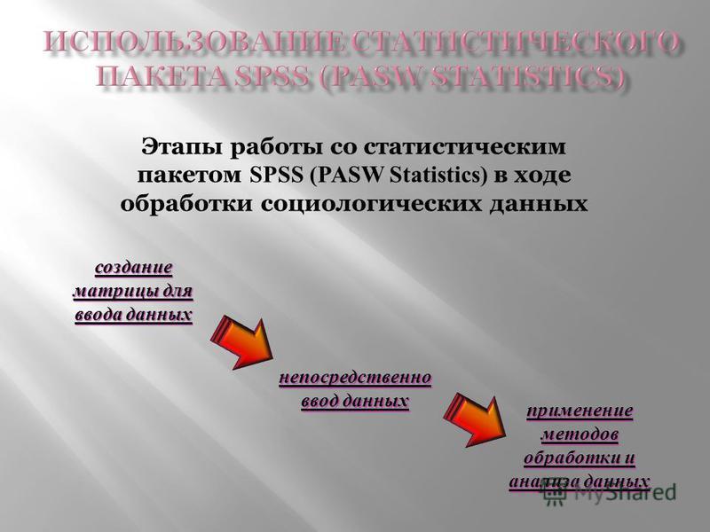 Этапы работы со статистическим пакетом SPSS (PASW Statistics) в ходе обработки социологических данных создание матрицы для ввода данных непосредственно ввод данных применение методов обработки и анализа данных