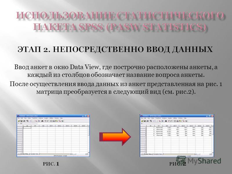 Ввод анкет в окно Data View, где построчно расположены анкеты, а каждый из столбцов обозначает название вопроса анкеты. После осуществления ввода данных из анкет представленная на рис. 1 матрица преобразуется в следующий вид (см. рис.2).