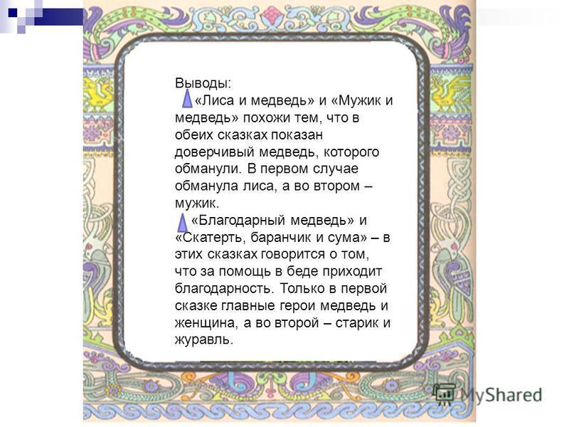 Выводы: «Лиса и медведь» и «Мужик и медведь» похожи тем, что в обеих сказках показан доверчивый медведь, которого обманули. В первом случае обманула лиса, а во втором – мужик. «Благодарный медведь» и «Скатерть, баранчик и сума» – в этих сказках говор
