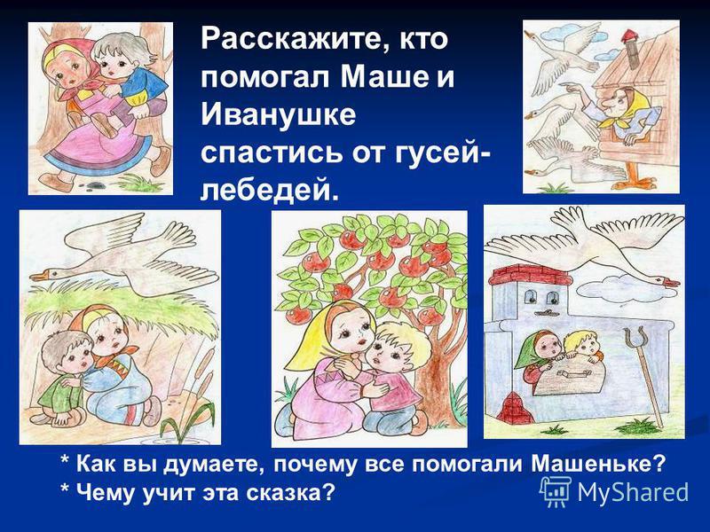 Расскажите, кто помогал Маше и Иванушке спастись от гусей- лебедей. * Как вы думаете, почему все помогали Машеньке? * Чему учит эта сказка?