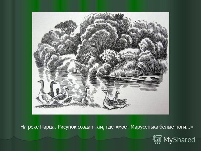 На реке Парца. Рисунок создан там, где «моет Марусенька белые ноги…»