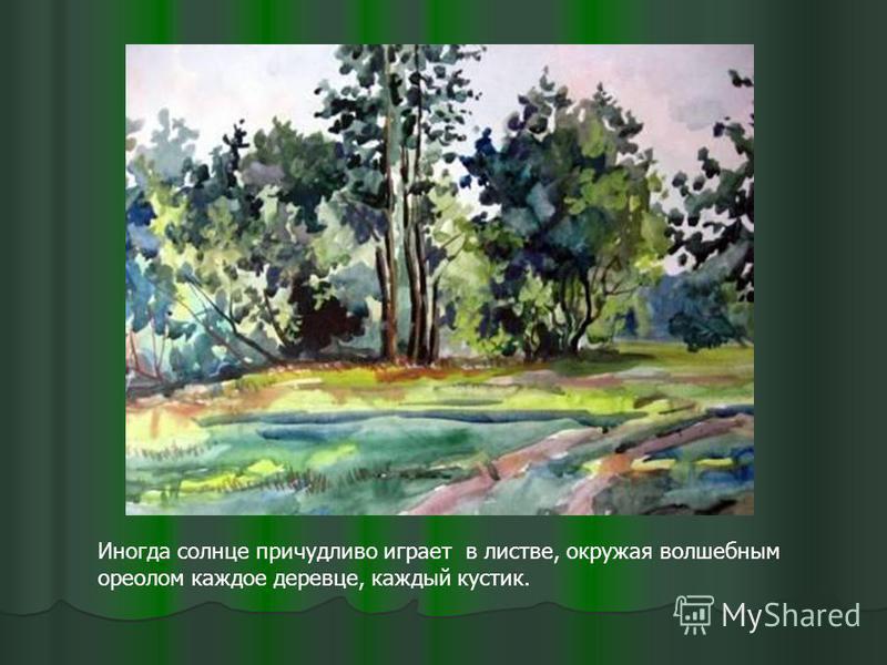 Иногда солнце причудливо играет в листве, окружая волшебным ореолом каждое деревце, каждый кустик.