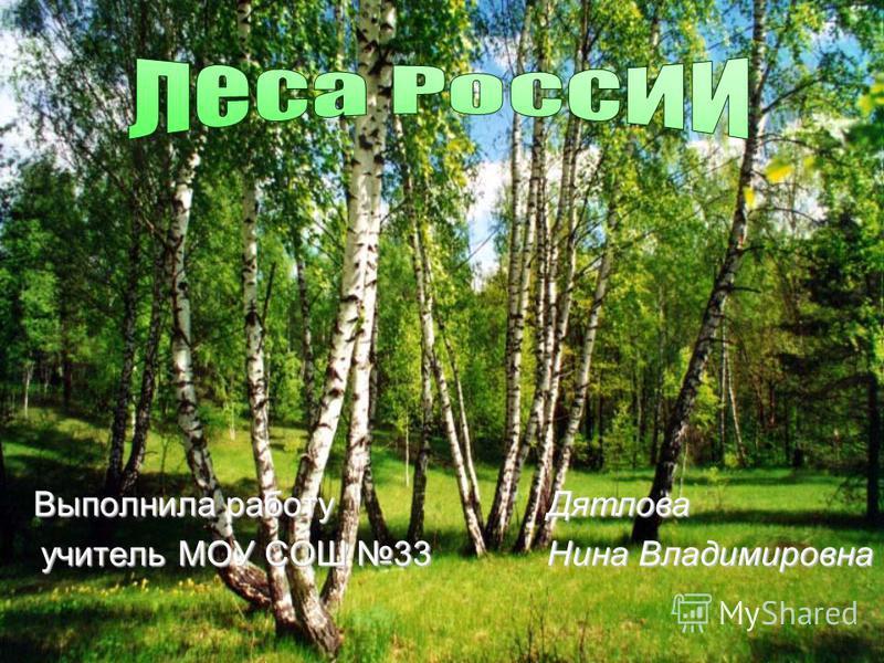 Выполнила работу учитель МОУ СОШ 33 Дятлова Нина Владимировна