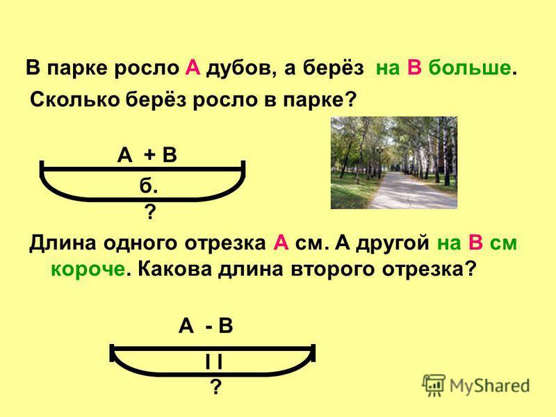 Длина одного отрезка А см. А другой на В см короче. Какова длина второго отрезка? В парке росло А дубов, а берёзна В больше. Сколько берёз росло в парке? А ? б. А ? I + В - В