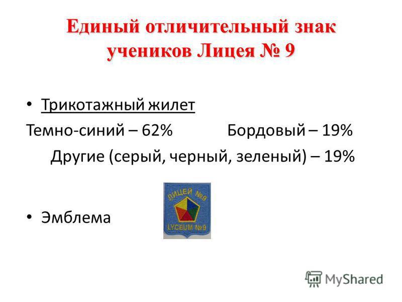 Единый отличительный знак учеников Лицея 9 Трикотажный жилет Темно-синий – 62%Бордовый – 19% Другие (серый, черный, зеленый) – 19% Эмблема