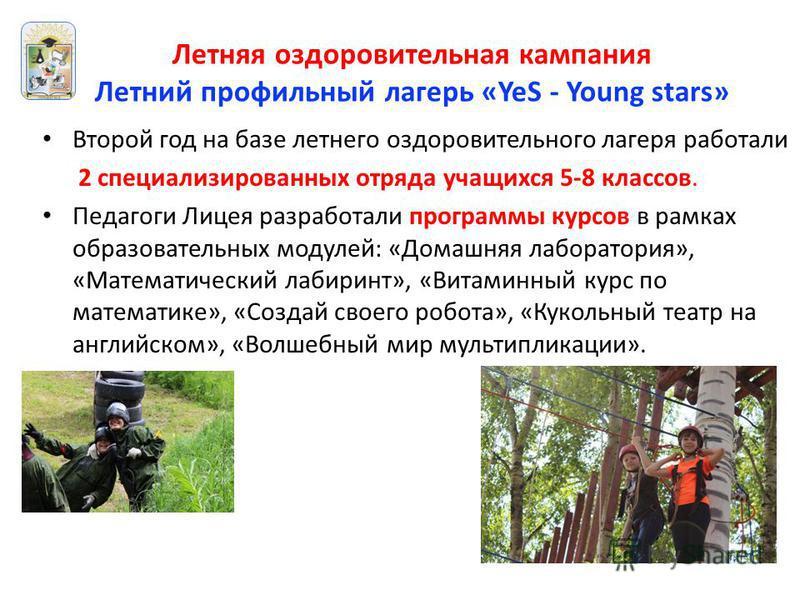 Летняя оздоровительная кампания Летний профильный лагерь «YeS - Young stars» Второй год на базе летнего оздоровительного лагеря работали 2 специализированных отряда учащихся 5-8 классов. Педагоги Лицея разработали программы курсов в рамках образовате