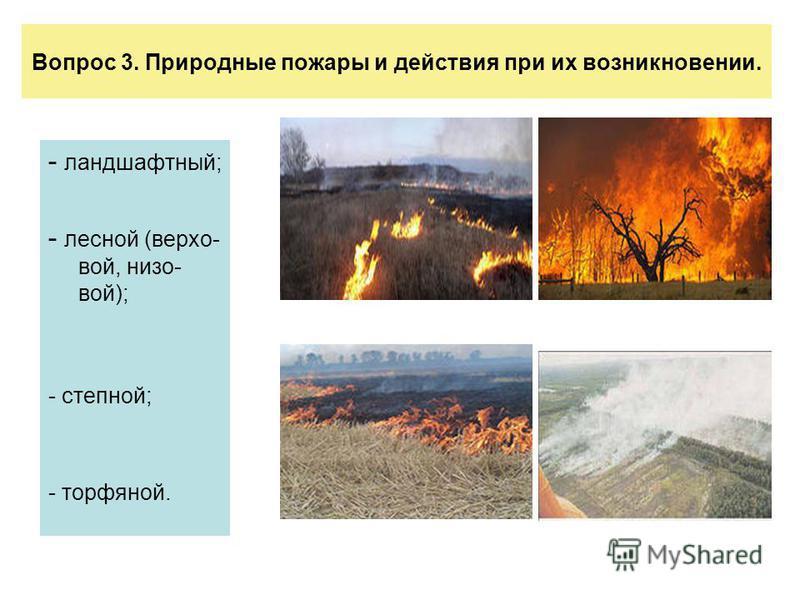 Вопрос 3. Природные пожары и действия при их возникновении. - ландшафтный; - лесной (верховой, низовой); - степной; - торфяной.