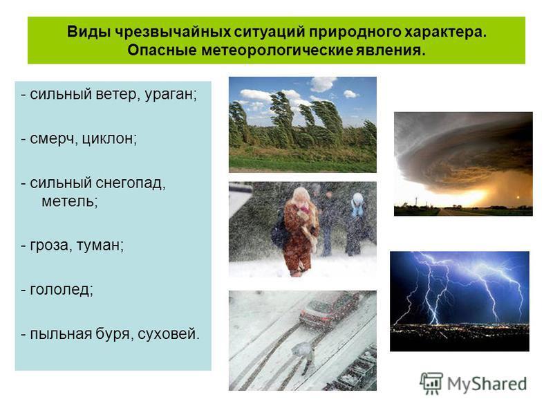 Виды чрезвычайных ситуаций природного характера. Опасные метеорологические явления. - сильный ветер, ураган; - смерч, циклон; - сильный снегопад, метель; - гроза, туман; - гололед; - пыльная буря, суховей.