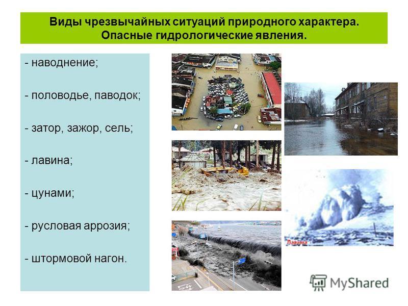 Виды чрезвычайных ситуаций природного характера. Опасные гидрологические явления. - наводнение; - половодье, паводок; - затор, зажор, сель; - лавина; - цунами; - русловая аррозия; - штормовой нагон.