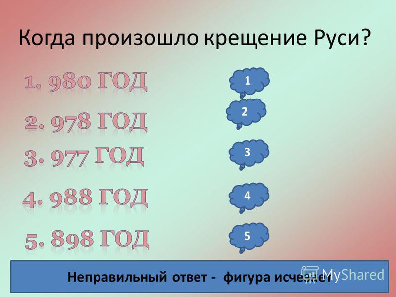Когда произошло крещение Руси? Неправильный ответ - фигура исчезает 2 3 4 5 1