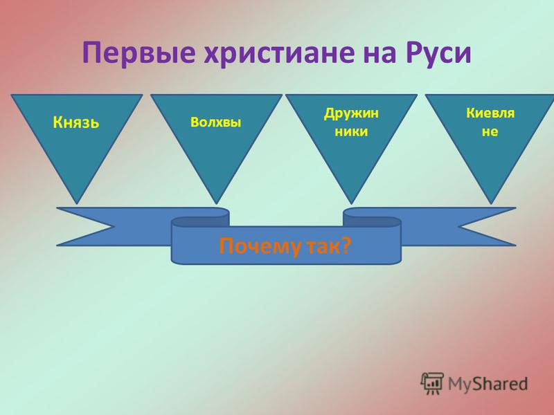 Первые христиане на Руси Князь Волхвы Дружин ники Киевля не Почему так?