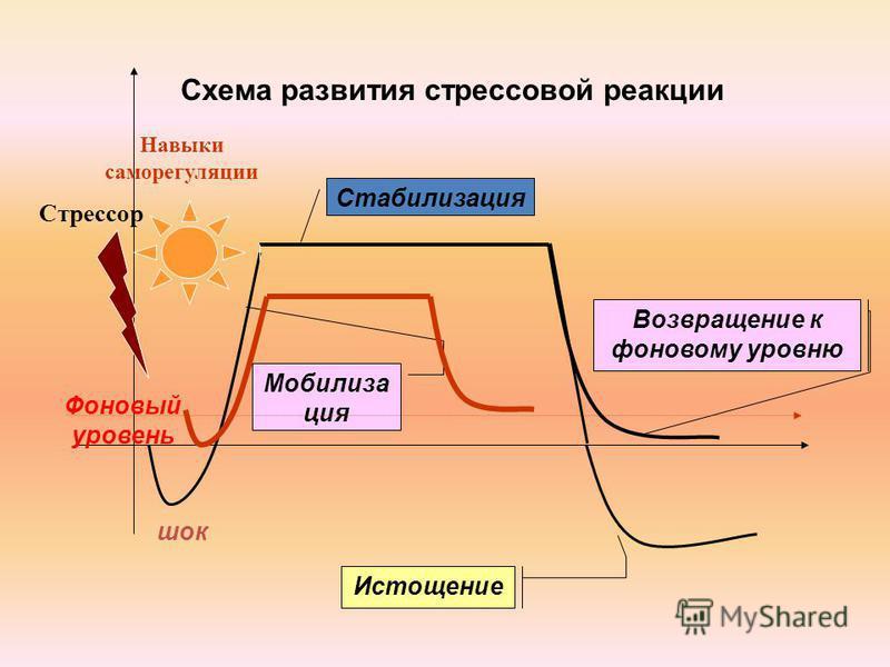 Схема развития стрессовой реакции шок Фоновый уровень Мобилиза ция Стабилизация Возвращение к фоновому уровню Истощение Стрессор Навыки саморегуляции