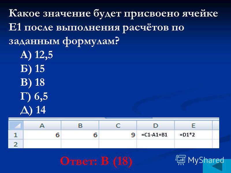 Какое значение будет присвоено ячейке Е1 после выполнения расчётов по заданным формулам? А) 12,5 Б) 15 В) 18 Г) 6,5 Д) 14 Ответ: В (18) =С1-A1+В1=D1*2