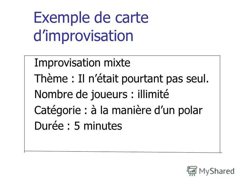 Exemple de carte dimprovisation Improvisation mixte Thème : Il nétait pourtant pas seul. Nombre de joueurs : illimité Catégorie : à la manière dun polar Durée : 5 minutes