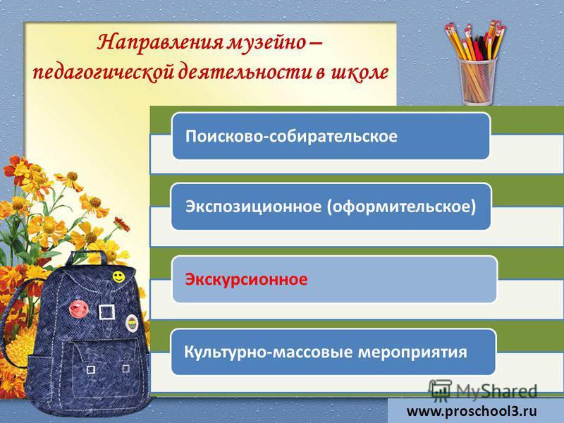 Направления музейно – педагогической деятельности в школе www.proschool3. ru Поисково-собирательское Экспозиционное (оформительское)Экскурсионное Культурно-массовые мероприятия