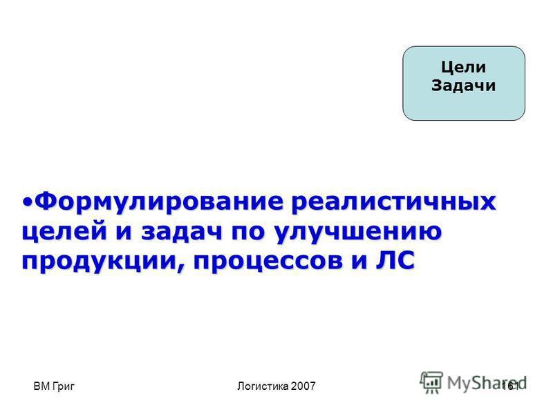 ВМ Григ Логистика 2007160 6 Постоянное улучшение Создание конкурентоспособных бизнес-планов, способствующих улучшению продукции, процессов и ЛС в целом. Применение концепций базового улучшения путем постепенного улучшения и прорыва Стратегия Политика