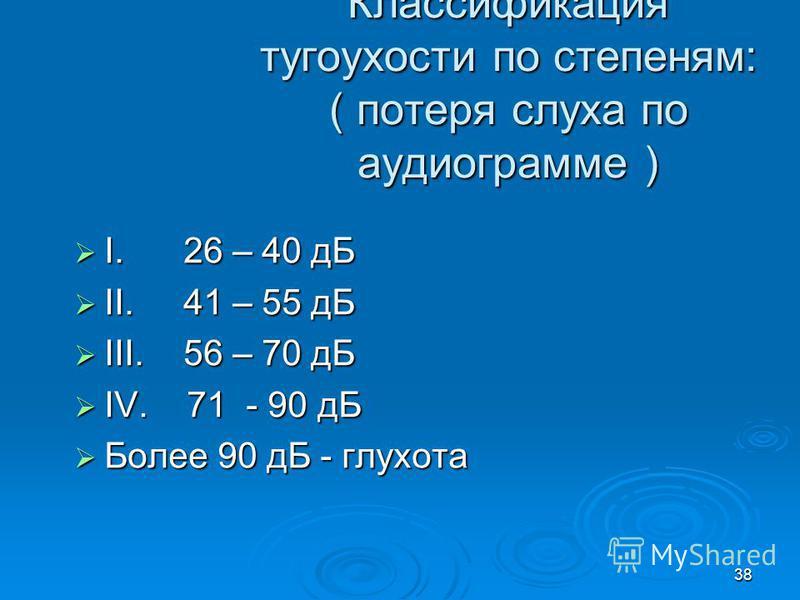 38 Классификация тугоухости по степеням: ( потеря слуха по аудиограмме ) I. 26 – 40 дБ I. 26 – 40 дБ II. 41 – 55 дБ II. 41 – 55 дБ III. 56 – 70 дБ III. 56 – 70 дБ IV. 71 - 90 дБ IV. 71 - 90 дБ Более 90 дБ - глухота Более 90 дБ - глухота