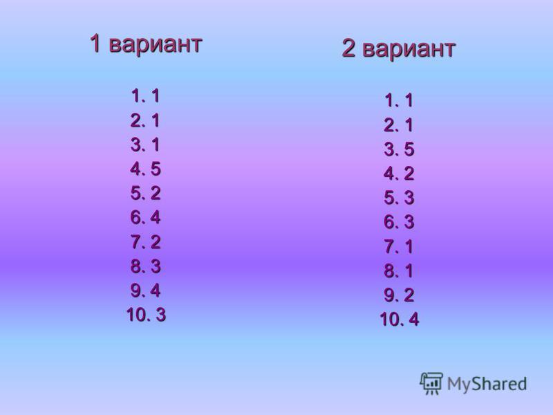 1 вариант 1. 1 2. 1 3. 1 4. 5 5. 2 6. 4 7. 2 8. 3 9. 4 10. 3 2 вариант 1. 1 2. 1 3. 5 4. 2 5. 3 6. 3 7. 1 8. 1 9. 2 10. 4
