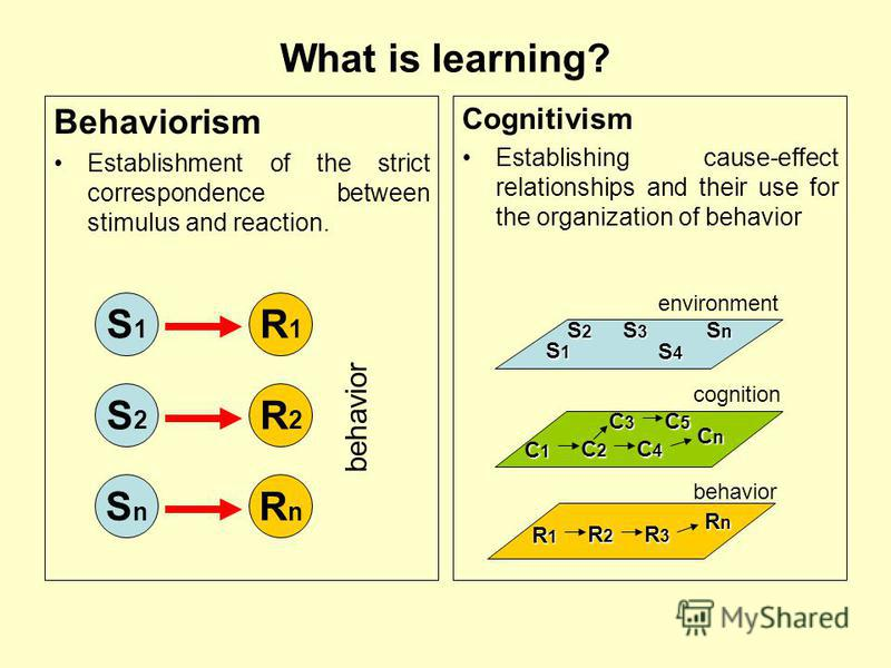 Behaviorism Establishment of the strict correspondence between stimulus and reaction. What is learning? Cognitivism Establishing cause-effect relationships and their use for the organization of behavior R1R1 S1S1 R2R2 S2S2 RnRn SnSn behavior S1S1S1S1