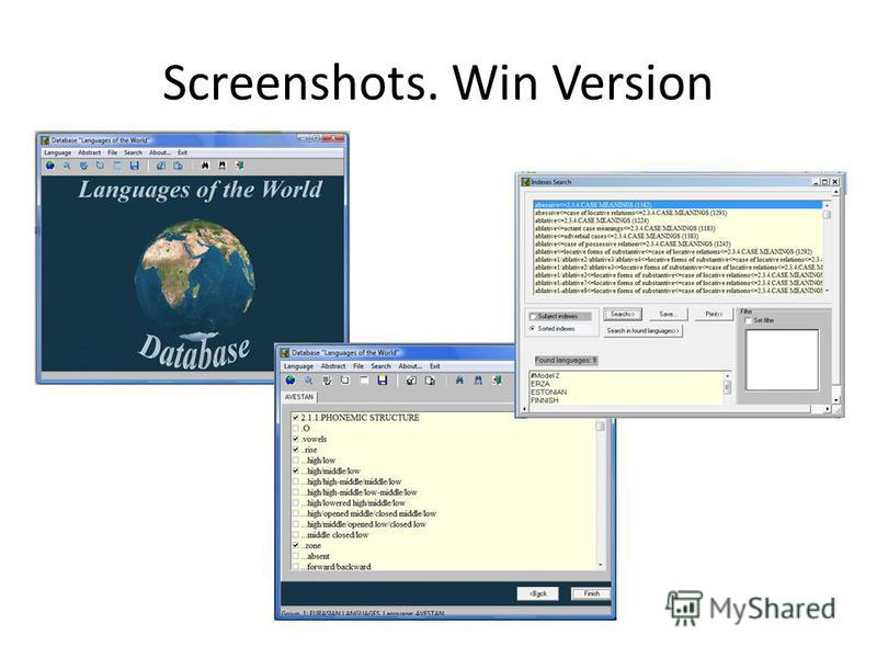 Screenshots. Win Version