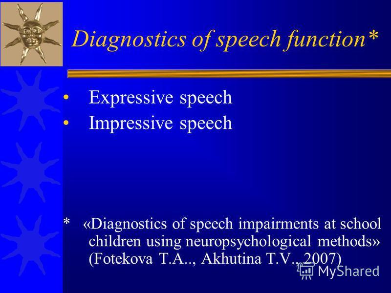 Diagnostics of speech function* Expressive speech Impressive speech * «Diagnostics of speech impairments at school children using neuropsychological methods» (Fotekova T.A.., Akhutina T.V., 2007)