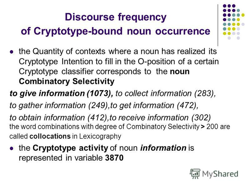 Discourse frequency of Cryptotype-bound noun occurrence the Quantity of contexts where a noun has realized its Cryptotype Intention to fill in the O-position of a certain Cryptotype classifier corresponds to the noun Combinatory Selectivity to give i