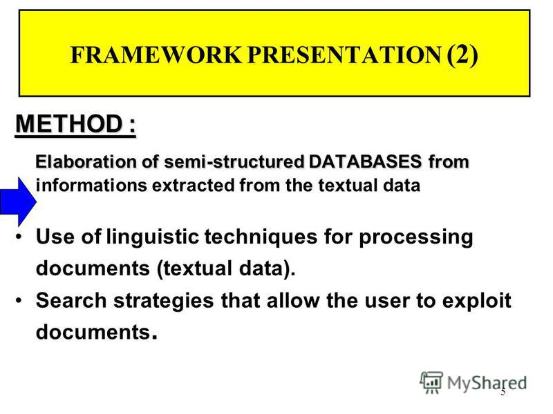 5 FRAMEWORK PRESENTATION (2) METHOD : Elaboration of semi-structured DATABASES from Elaboration of semi-structured DATABASES from informations extracted from the textual data Use of linguistic techniques for processing documents (textual data). Searc