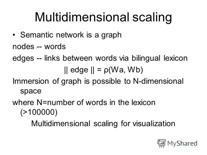 Multidimensional scaling Semantic network is a graph nodes -- words edges -- links between words via bilingual lexicon || edge || = ρ(Wa, Wb) Immersion of graph is possible to N-dimensional space where N=number of words in the lexicon (>100000) Multi