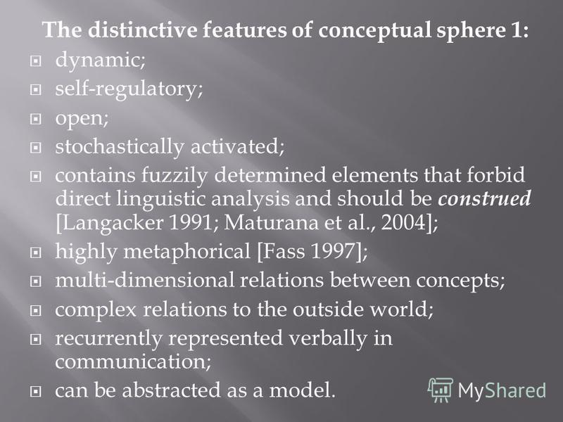The distinctive features of conceptual sphere 1: dynamic; self-regulatory; open; stochastically activated; contains fuzzily determined elements that forbid direct linguistic analysis and should be construed [Langacker 1991; Maturana et al., 2004]; hi