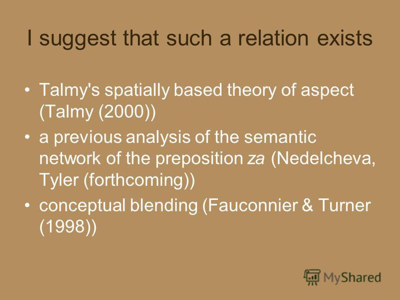 I suggest that such a relation exists Talmy's spatially based theory of aspect (Talmy (2000)) a previous analysis of the semantic network of the preposition za (Nedelcheva, Tyler (forthcoming)) conceptual blending (Fauconnier & Turner (1998))