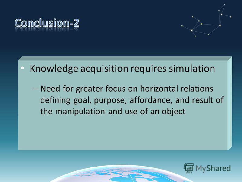 Knowledge acquisition requires simulation – Need for greater focus on horizontal relations defining goal, purpose, affordance, and result of the manipulation and use of an object