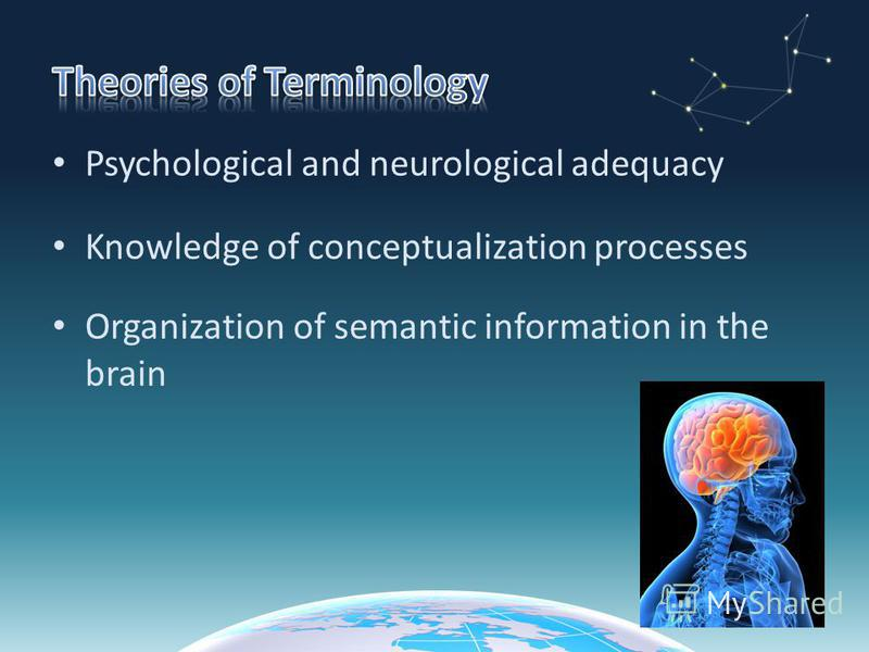 Psychological and neurological adequacy Knowledge of conceptualization processes Organization of semantic information in the brain