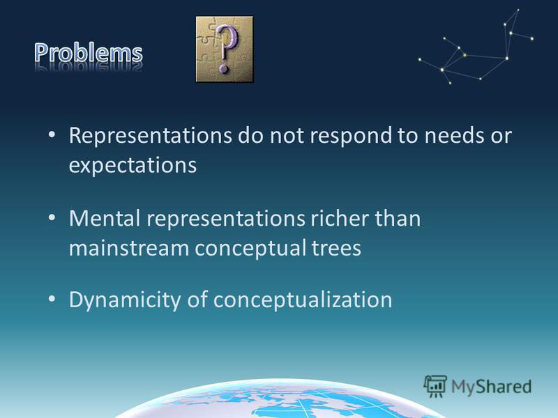 Representations do not respond to needs or expectations Mental representations richer than mainstream conceptual trees Dynamicity of conceptualization