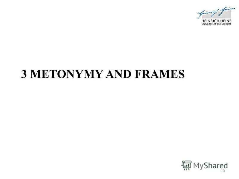 3 METONYMY AND FRAMES 10
