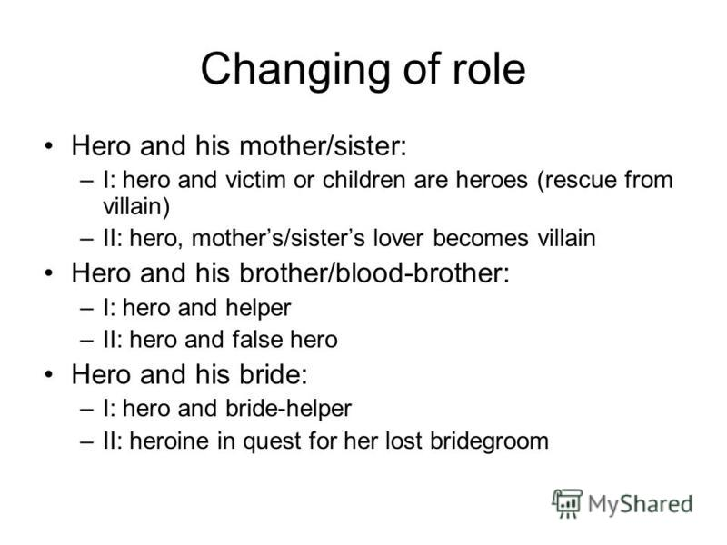 Changing of role Hero and his mother/sister: –I: hero and victim or children are heroes (rescue from villain) –II: hero, mothers/sisters lover becomes villain Hero and his brother/blood-brother: –I: hero and helper –II: hero and false hero Hero and h