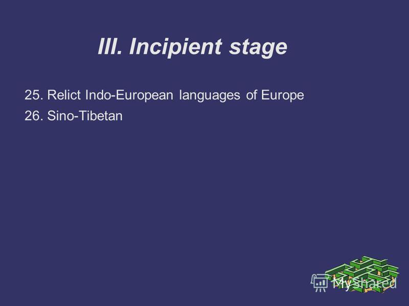 III. Incipient stage 25. Relict Indo-European languages of Europe 26. Sino-Tibetan