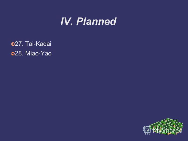 IV. Planned 27. Tai-Kadai 28. Miao-Yao