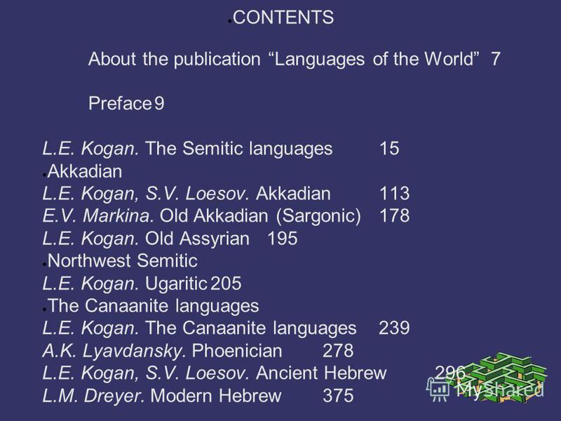 CONTENTS About the publication Languages of the World7 Preface9 L.E. Kogan. The Semitic languages15 Akkadian L.E. Kogan, S.V. Loesov. Akkadian113 E.V. Markina. Old Akkadian (Sargonic)178 L.E. Kogan. Old Assyrian195 Northwest Semitic L.E. Kogan. Ugari