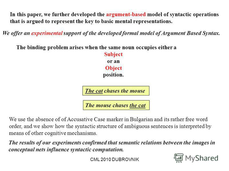 CML 2010 DUBROVNIK We offer an experimental support of the developed formal model of Argument Based Syntax. In this paper, we further developed the argument-based model of syntactic operations that is argued to represent the key to basic mental repre