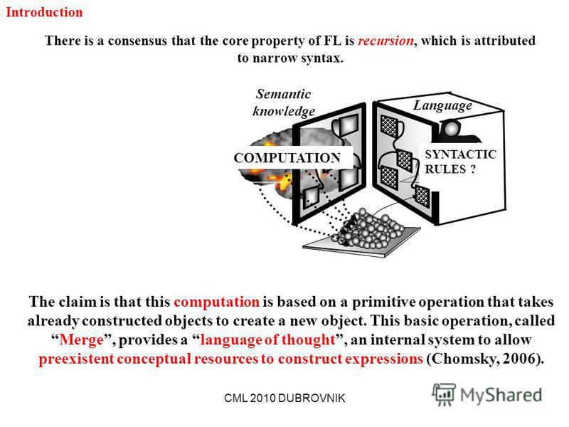 CML 2010 DUBROVNIK Language SYNTACTIC RULES ? Semantic knowledge COMPUTATION There is a consensus that the core property of FL is recursion, which is attributed to narrow syntax. The claim is that this computation is based on a primitive operation th