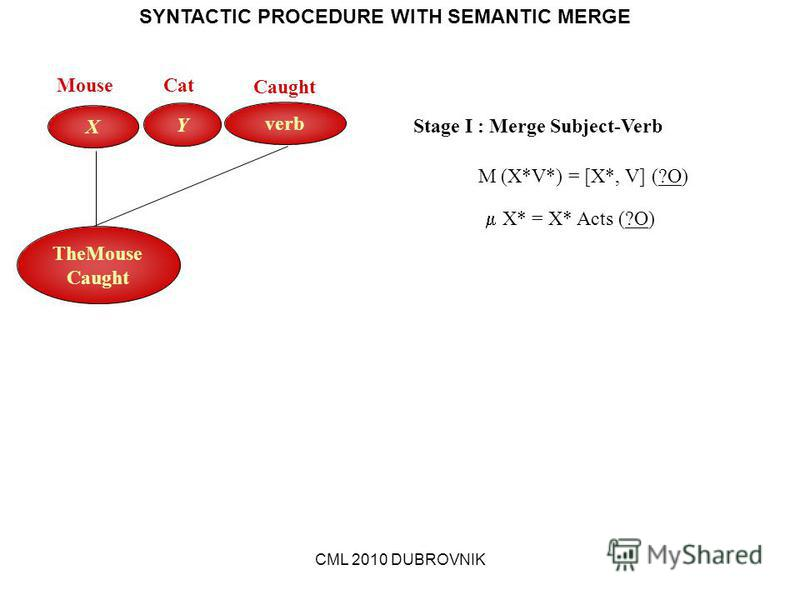 CML 2010 DUBROVNIK SYNTACTIC PROCEDURE WITH SEMANTIC MERGE verb Y X MouseCat Caught Stage I : Merge Subject-Verb M (X*V*) = [X*, V] (?O) X* = X* Acts (?O) TheMouse Caught