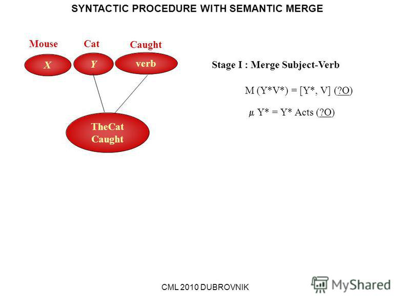 CML 2010 DUBROVNIK SYNTACTIC PROCEDURE WITH SEMANTIC MERGE verb Y X Stage I : Merge Subject-Verb M (Y*V*) = [Y*, V] (?O) Y* = Y* Acts (?O) TheCat Caught MouseCat Caught