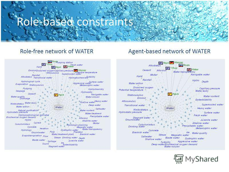Role-based constraints Role-free network of WATERAgent-based network of WATER