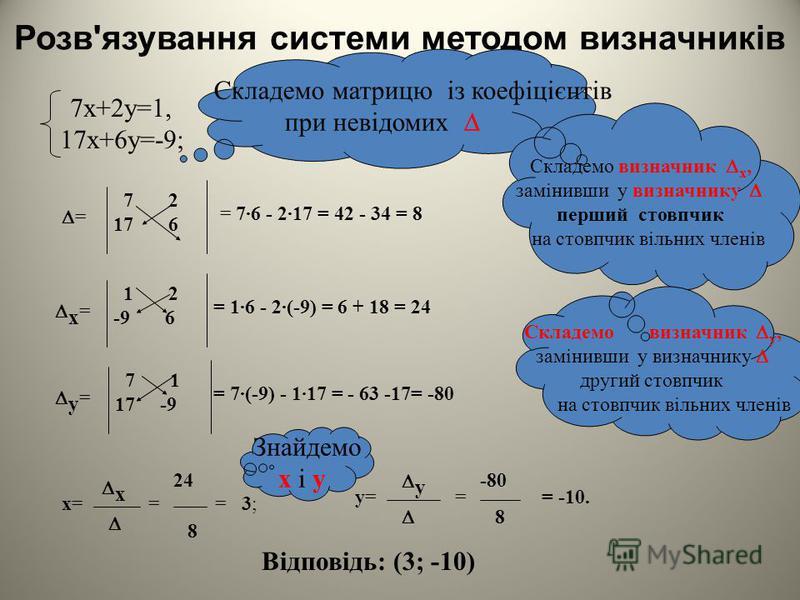 { Розвяжіть систему лінійних рівнянь способом підстановки: