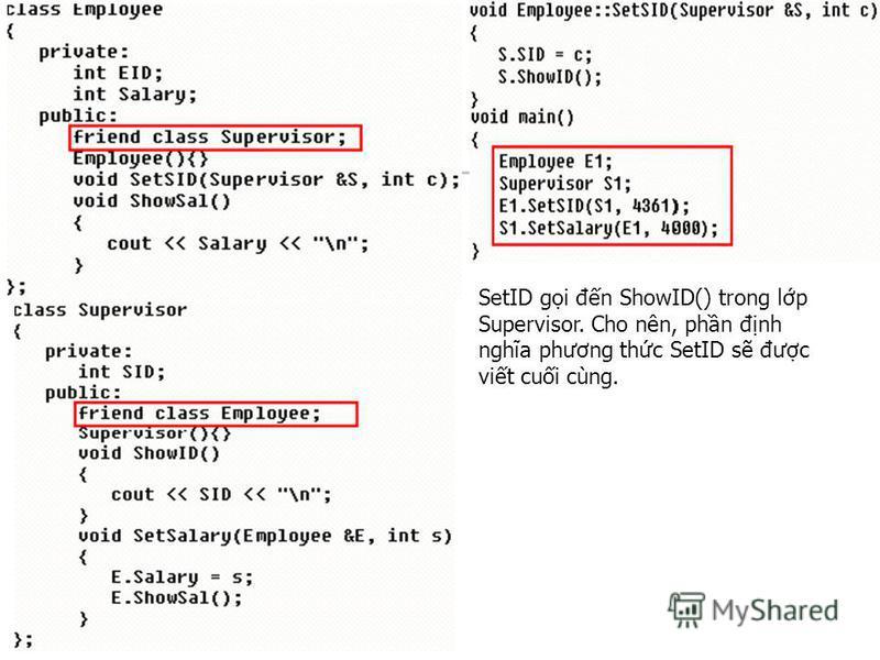 SetID gi đn ShowID() trong lp Supervisor. Cho nên, phn đnh nghĩa phương thc SetID s đưc vit cui cùng.