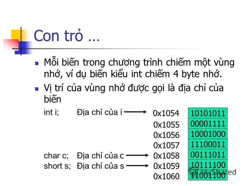 Con tr … Mi bin trong chương trình chim mt vùng nh, ví d bin kiu int chim 4 byte nh. V trí ca vùng nh đưc gi là đa ch ca bin 10101011 00001111 10001000 11100011 0x1054 0x1055 0x1056 0x1057 00111011 0x1058 10111100 0x1059 11001100 0x1060 int i; Đa ch