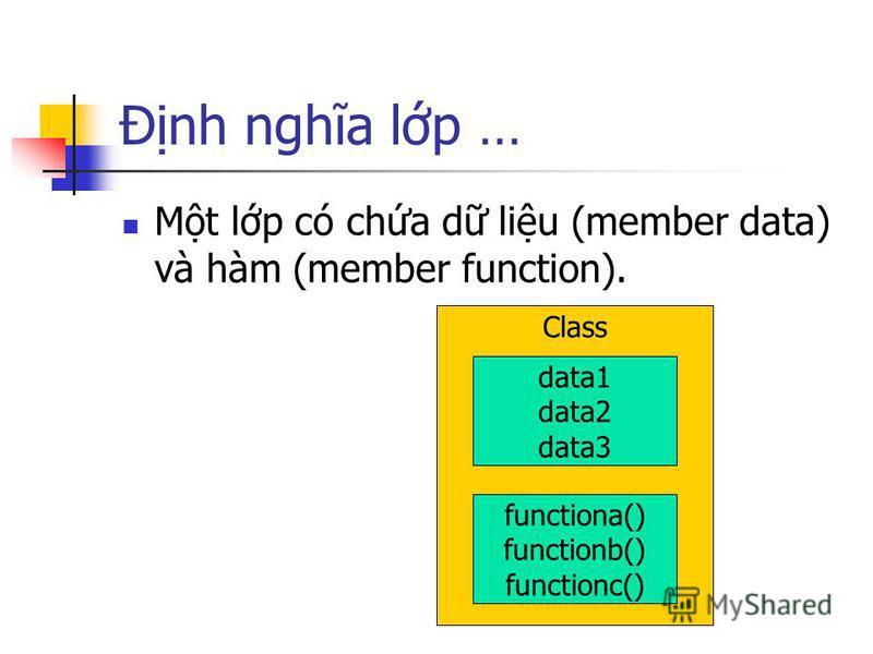 Đnh nghĩa lp … Mt lp có cha d liu (member data) và hàm (member function). Class data1 data2 data3 functiona() functionb() functionc()