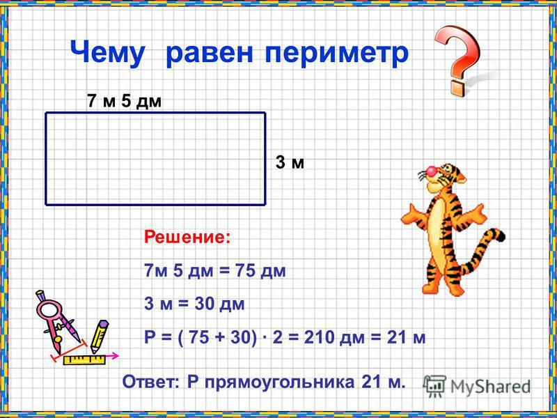7 м 5 дм 3 м Чему равен периметр Решение: 7 м 5 дм = 75 дм 3 м = 30 дм Р = ( 75 + 30) · 2 = 210 дм = 21 м Ответ: Р прямоугольника 21 м.